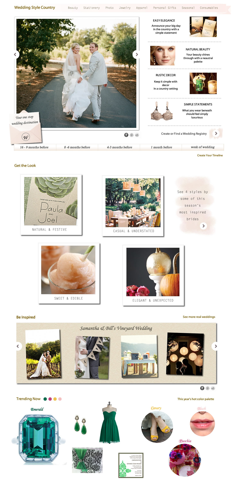 Wedding Channel Home Page: Concept A
