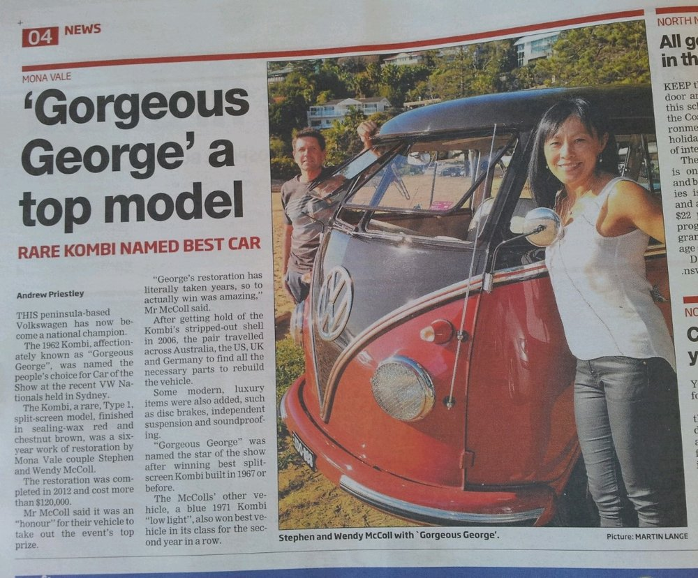 GEORGE MADE THE NEWS AFTER WINNING SEVERAL AWARDS AT THE VOLKSWAGEN NATIONALS