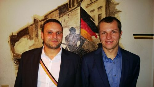 Manuel Ochsenreiter and Ruben Rosiers during a geopolitical conference in Bielefeld (2013)