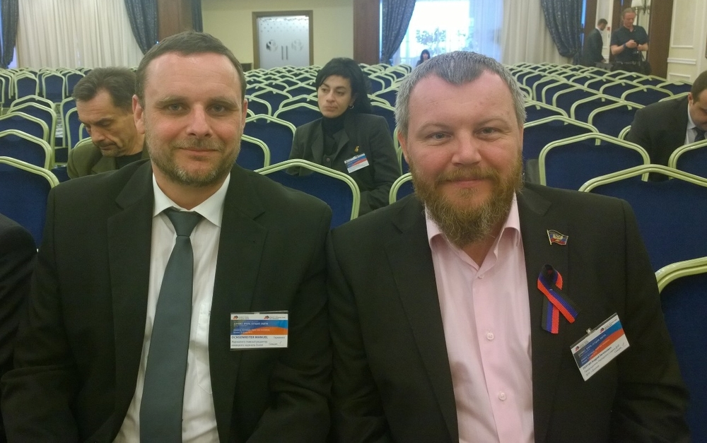 Manuel Ochsenreiter and Andrei Purgin, Chairman of the People's Soviet (parliament) of Donetsk People´s Republic