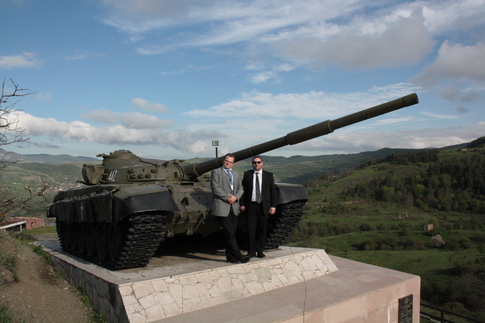 Hans-Jörg Jenewein and Manuel Ochsenreiter at the Shushi tank memorial