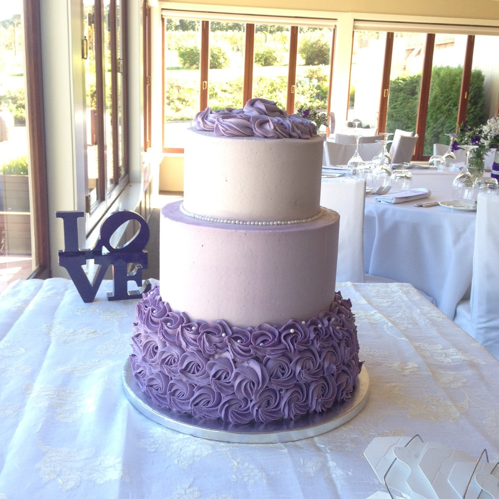 Three Tier Lilac Wedding Cake - Bluebells Cakery