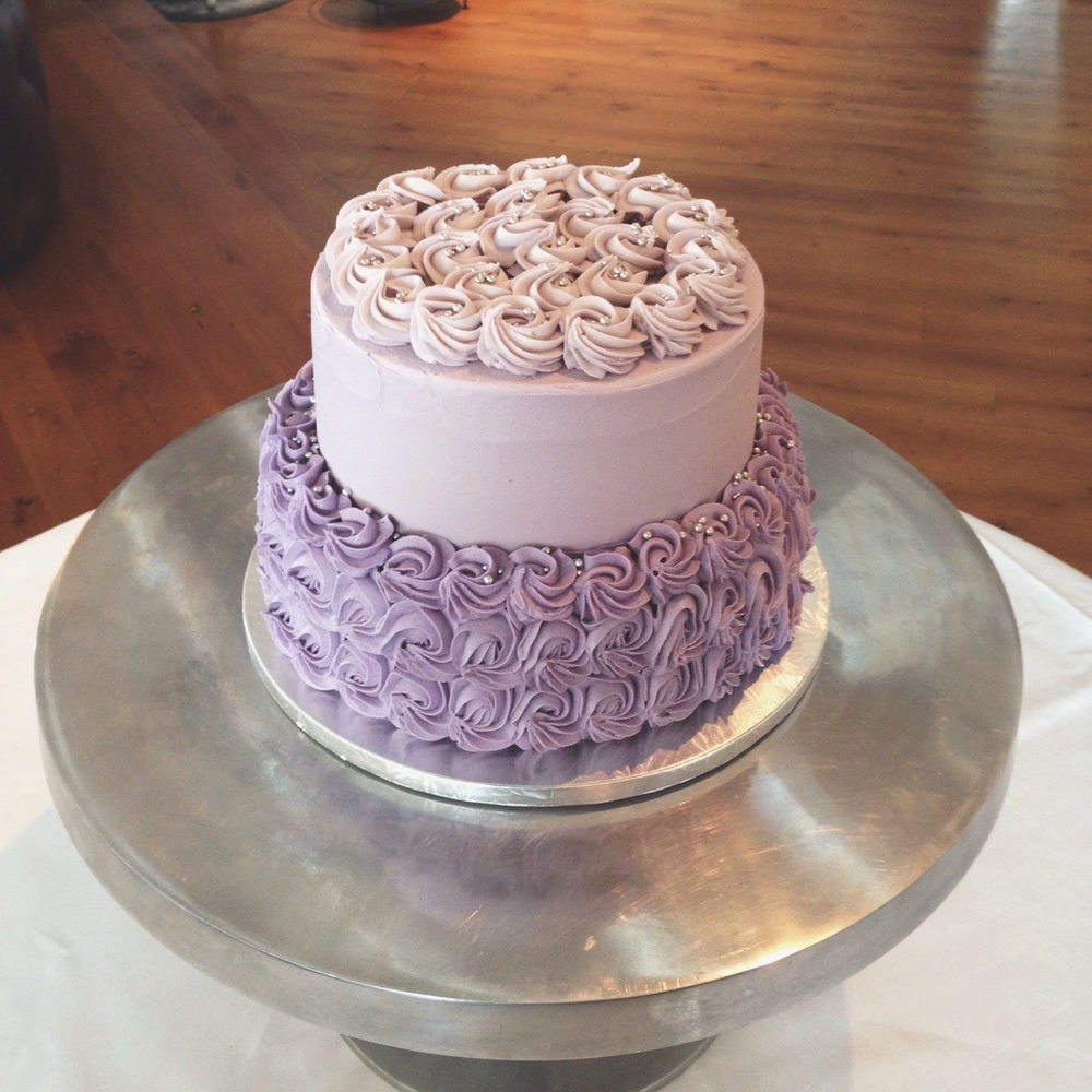Tiered Rossette - Simple Lilac Iced Wedding Cake - Bluebells Cakery