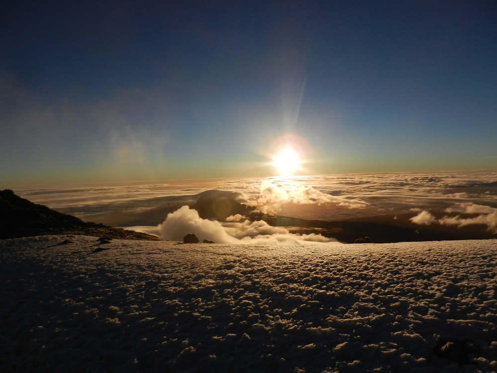 Sunrise at the summit of Mt. Kilimajaro, Tanzania. Photo credit ME!