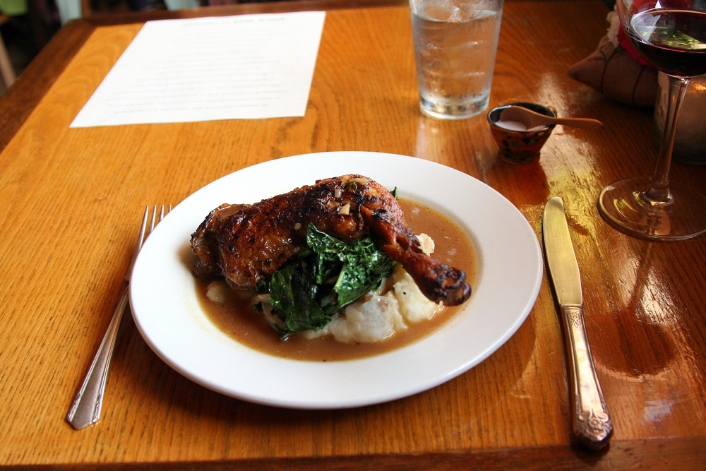 Braised chicken leg & thigh with lacinato kale and mashed potatoes
