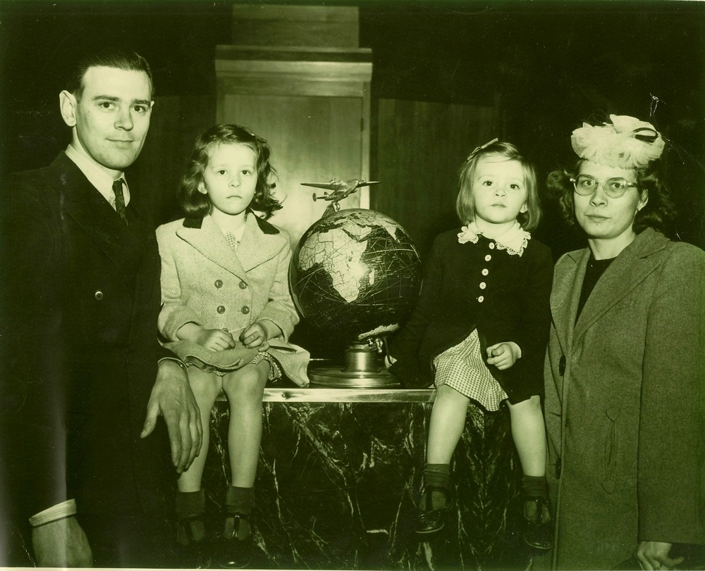 Harry, Peggy Ann, Nancy, and Vickie Buerer in the airport before boarding the plane to Africa.