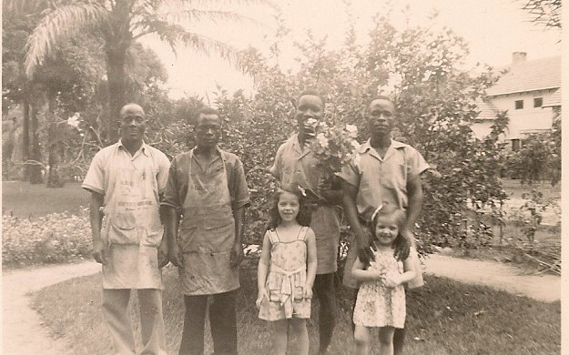 Nancy and Peggy with natives at Tshene, the original mission station of the Congo Gospel Mission.