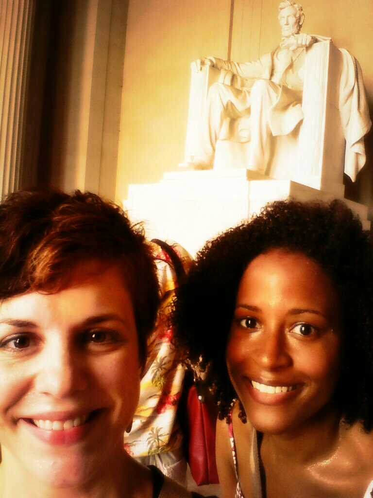 Sweating it out on the National Mall with Sharon. Ridiculous photo filter applied to hide our shine.