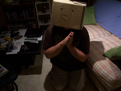 """Boxhead Mea Culpa"" from Mr. Boxhead on Flickr.com"