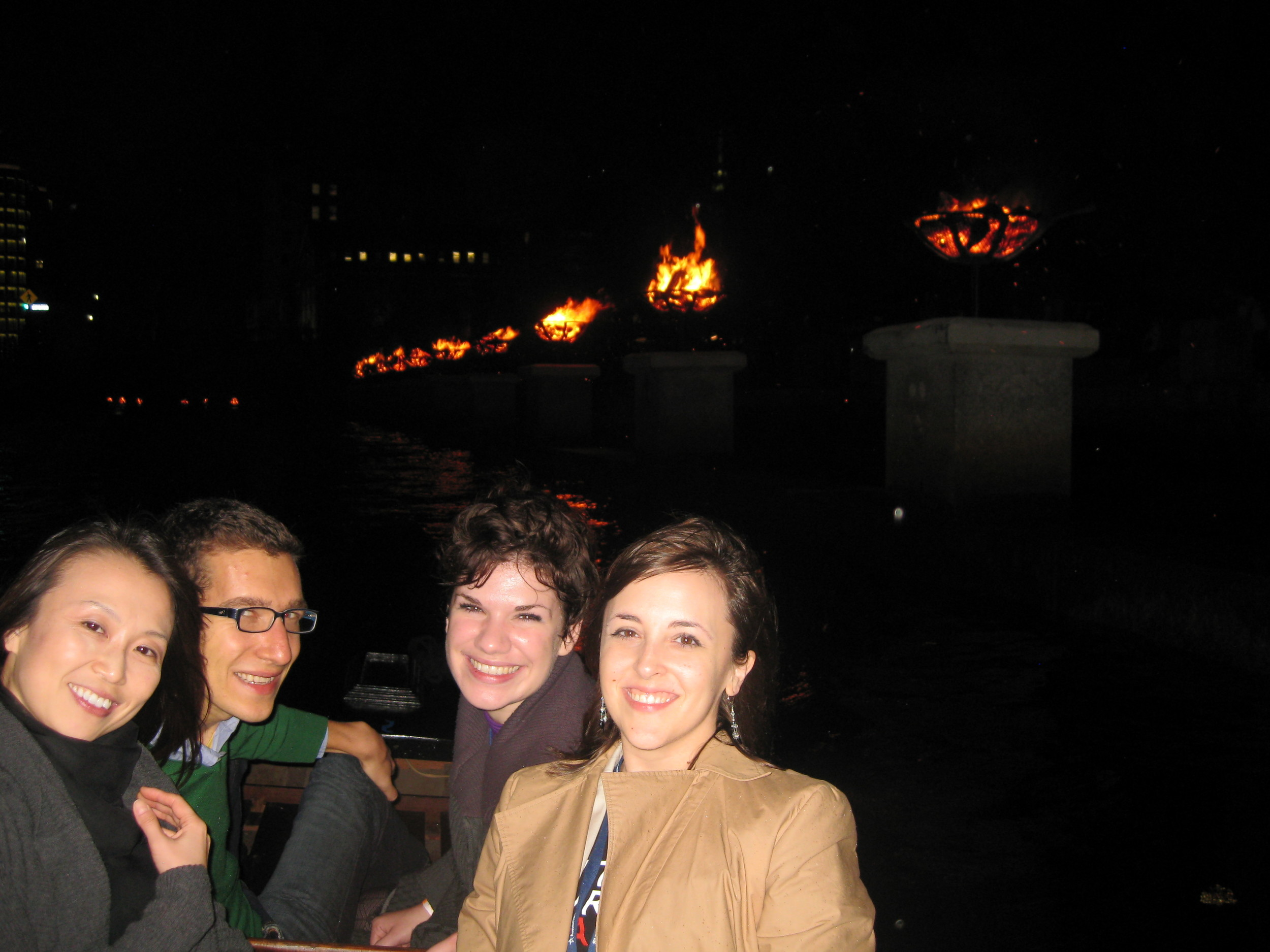 Pittsburgh contingent (L-R Haebin of CAMT, MAMs Justin and Corwin, and the Cultural Trust's Lauren) experience Water Fire