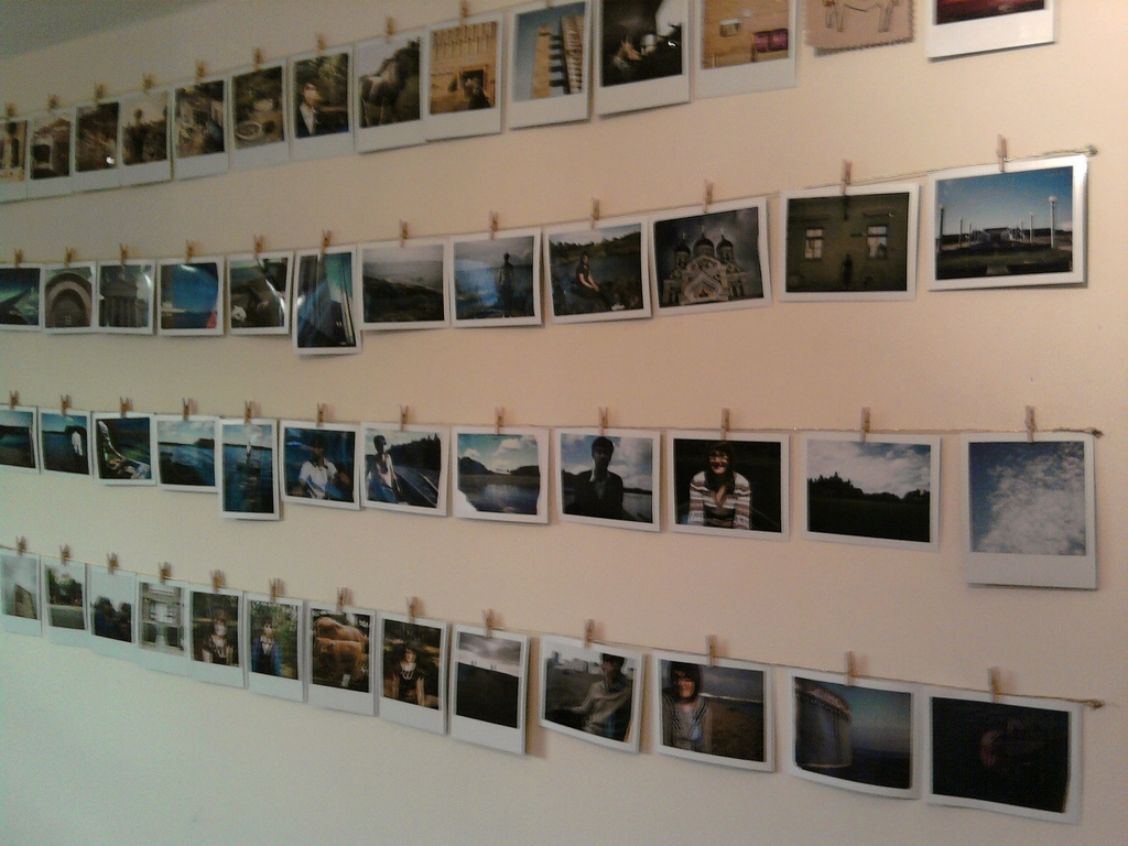 """Wire + Minipegs = Polaroid Wall"" by Fiona McLaren"