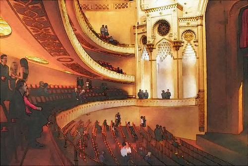 Watercolor style theater renovation by Gordon Tarpley