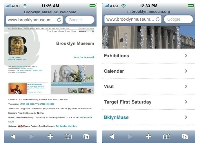 Brooklyn Museum's main website (left) and their mobile site (right). Via the Brooklyn Museum blog