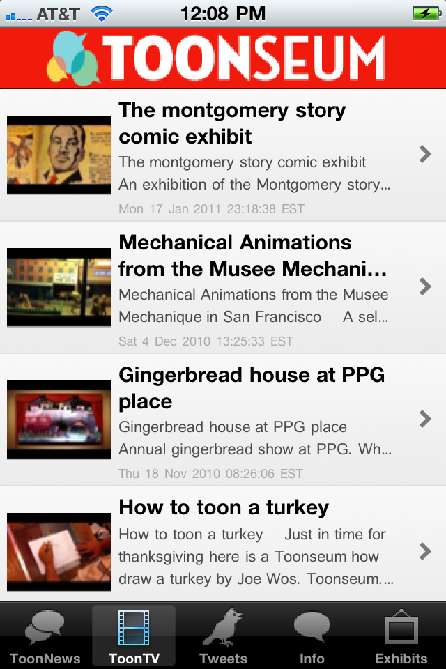 A screen shot of the ToonSeum App