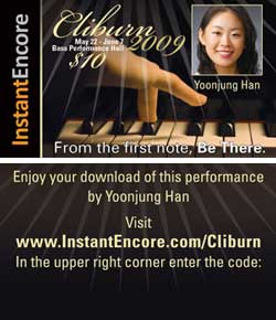 An InstantEncore concert card offering a music download.