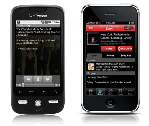 The music player feature on InstantEncore's Android app (left) and the events feature on InstantEncore's iPhone app (right).
