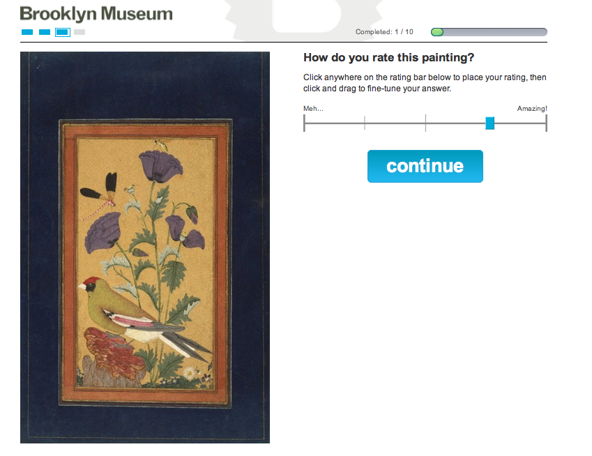 Screen shot of Split-Second's crowd-curation process by the Brooklyn Museum