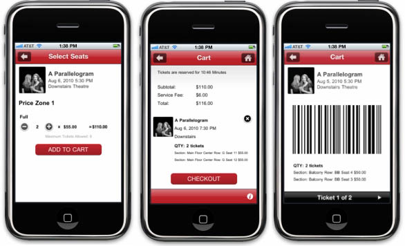 CloudTix allows a venue's patrons to select seats and purchase tickets with an easy-to-use mobile app