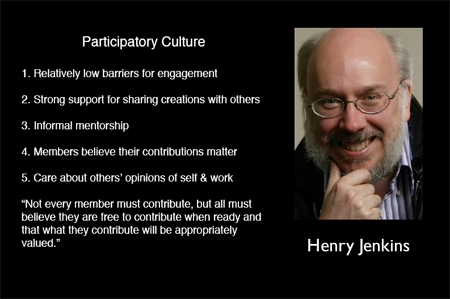 Jenkin's 5 Traits of Participatory Culture. Image from OpenParenthesis.org