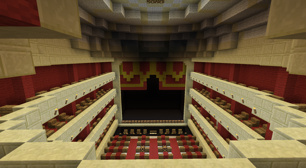 A Minecraft auditorium inspired by the Royal Opera House - credits to Palancz, Gery, and Darkamzik