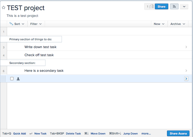 Screen shot of one project on Asana.