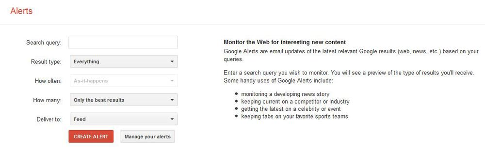 Keep track of a name or phrase easily through Goggle Alerts, shown above.