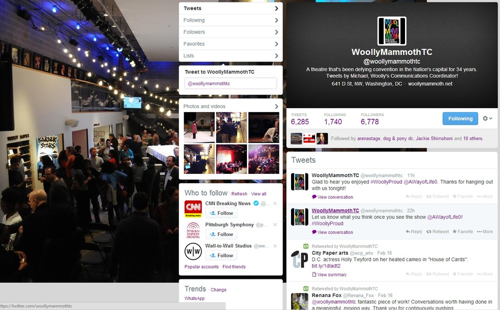 Screenshot of Woolly Mammoth's Twitter
