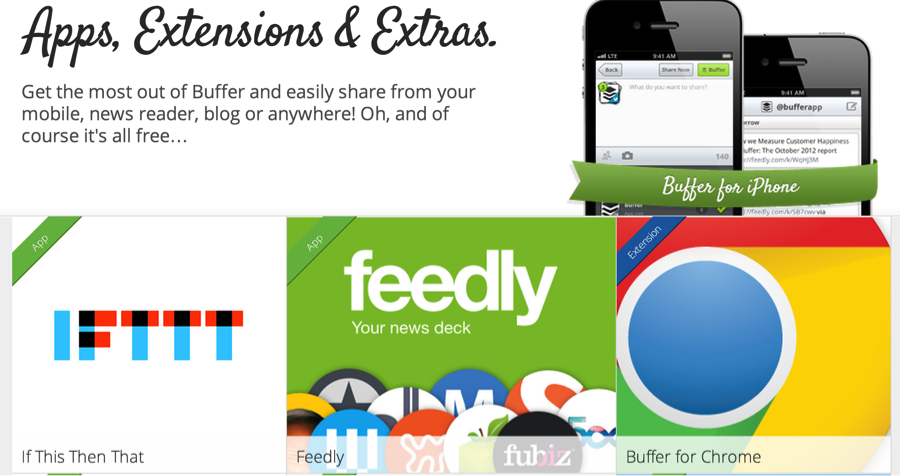 Buffer offers numerous apps, extensions and extras.