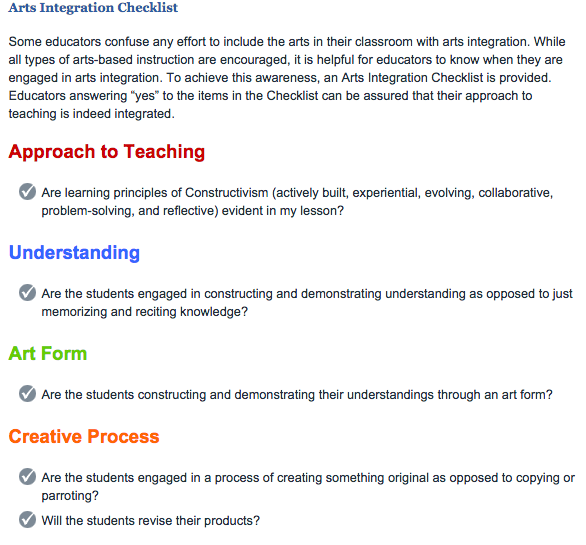 Some of the checklist items for the arts integration process  Source: The Kennedy Center