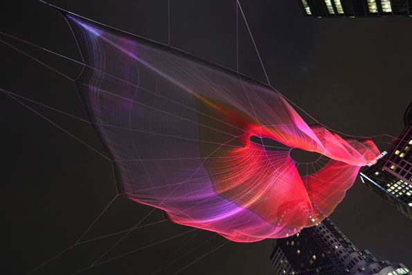 (Skies Painted with Unnumbered Sparks, 2014, sculpture by Janet Echelman, interactive art by Aaron Koblin. EMA PETER/COURTESY STUDIO ECHELMAN)