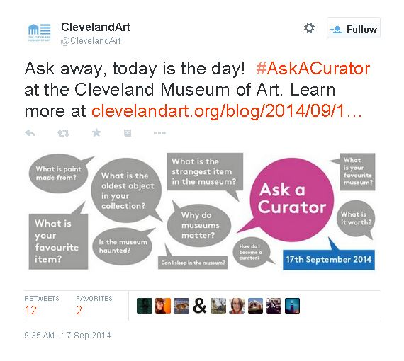 "Screen shot of the Cleveland Museum of Art's ""Ask A Curator"" Day on  Twitter ."