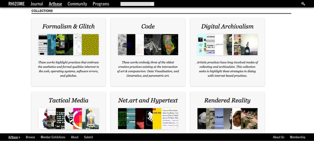 Screenshot of the ArtBase Collection Categories  Source: Rhizome | ArtBase