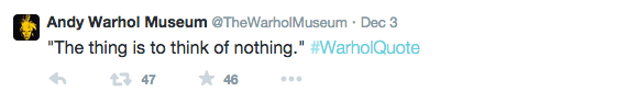 Tweet by @TheWarholMuseum