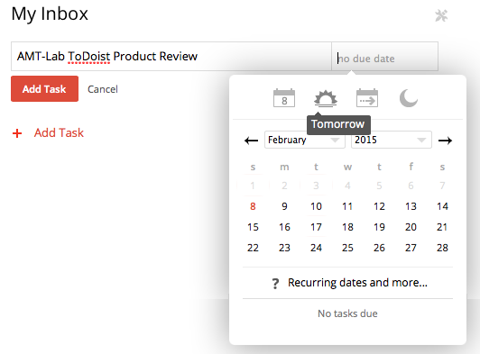 Screenshot of ToDoist scheduler
