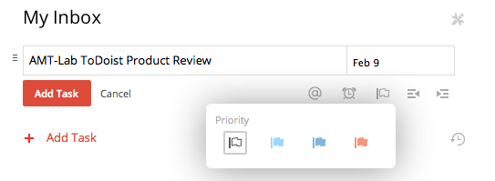 Screenshot of ToDoist priority settings