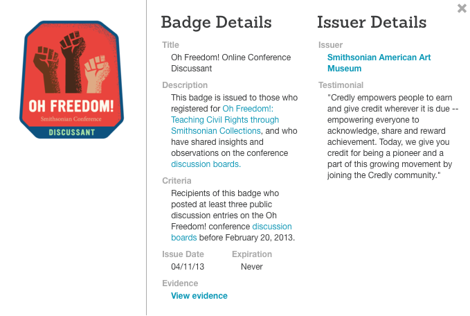 Credentials given for an Open Badge issued by the Smithsonian Museum
