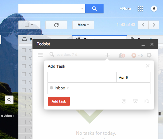 Screenshot of ToDoist extension for Gmail