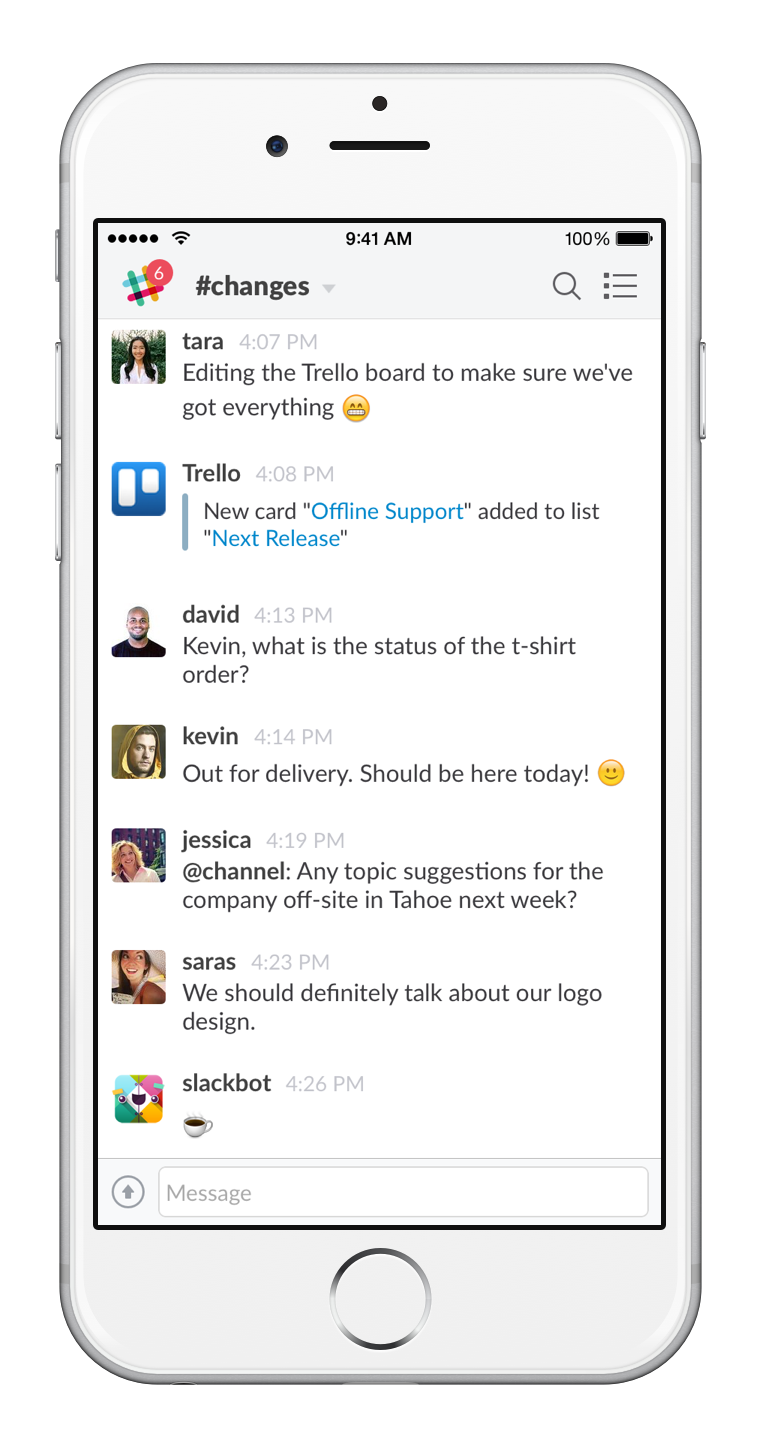 Slack mobile conversation
