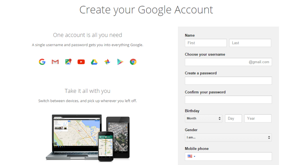 Simple Account Creation Page
