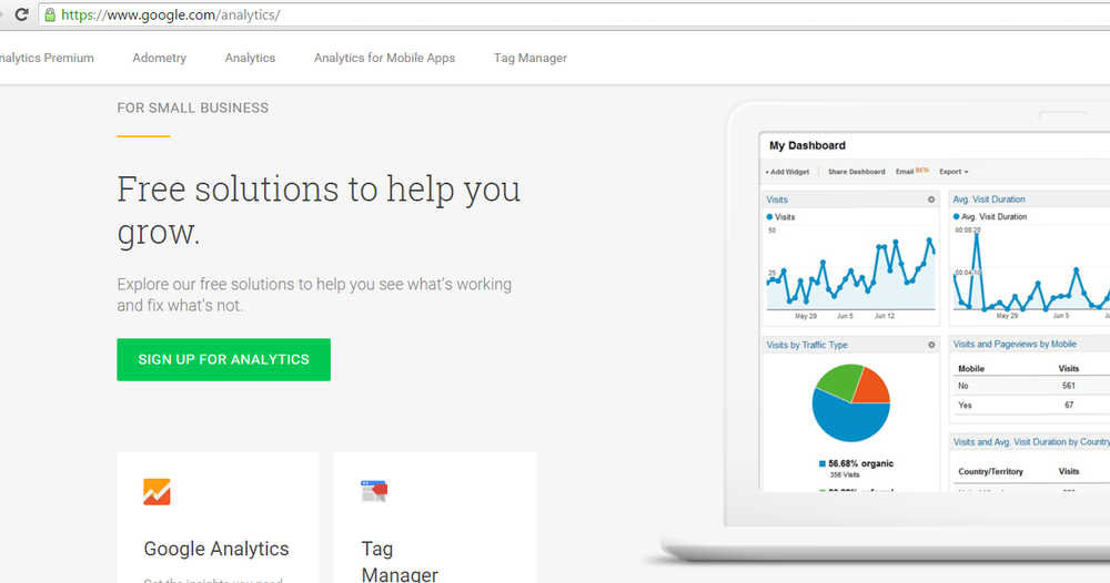 Google Analytics Home Page – Features a Small Business Package