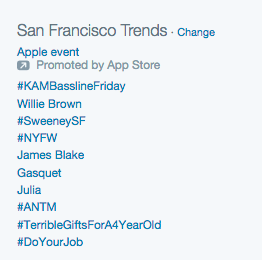 Trending topics on Twitter included the hashtag for SF Opera's  Sweeney Todd