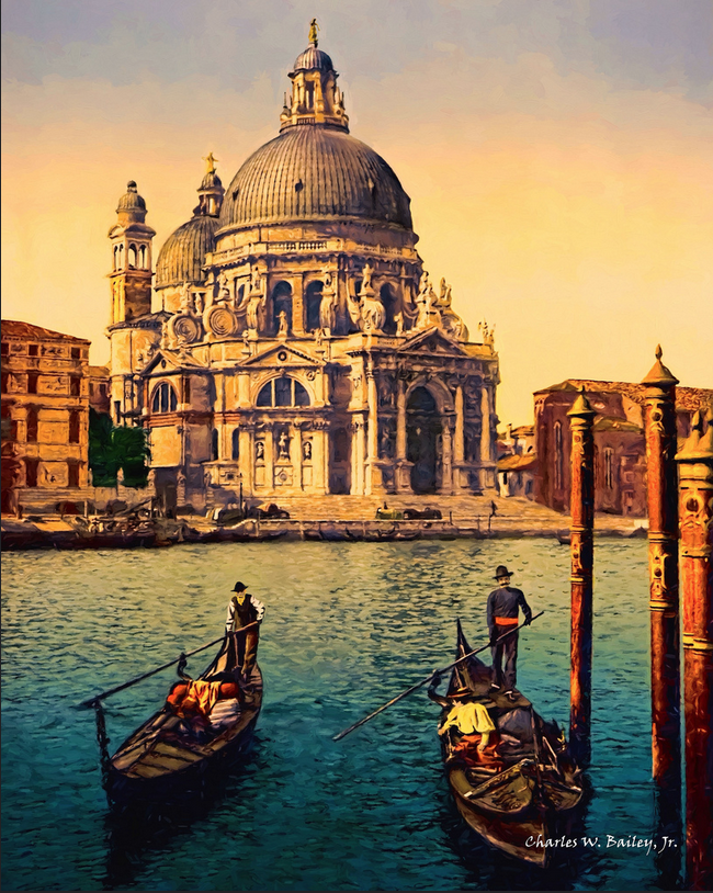 A digital oil painting of Santa Maria della Salute by Charles W. Bailey, Jr. demonstrates the versatility of digital drawing apps.