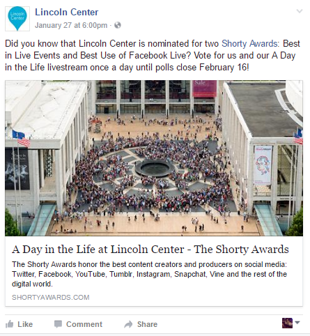 Source: Lincoln Center Facebook Page (@lincolncenternyc)
