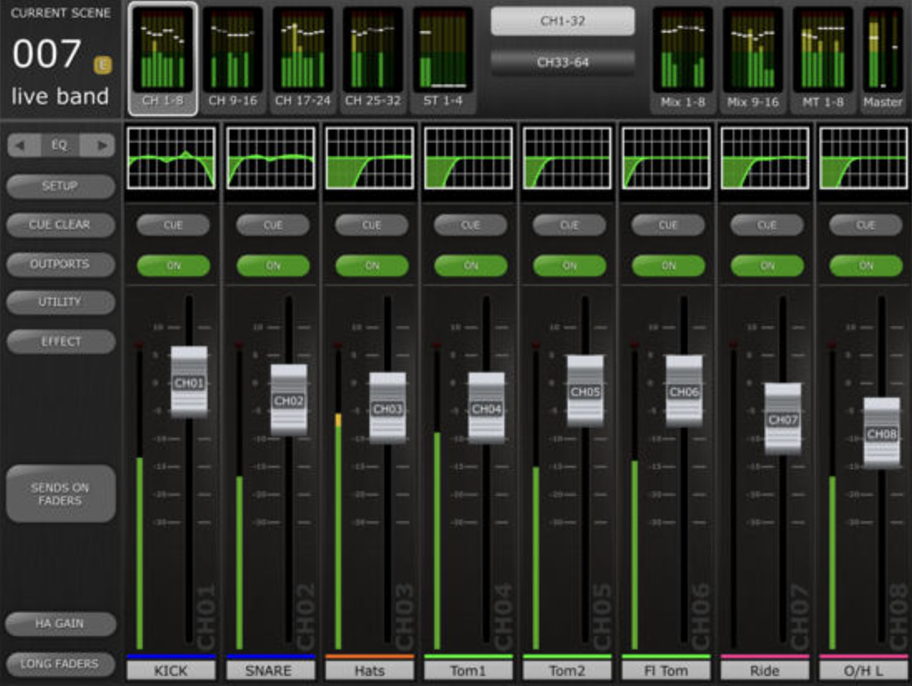 M7CL StageMix Screenshot (available on Apple Store)
