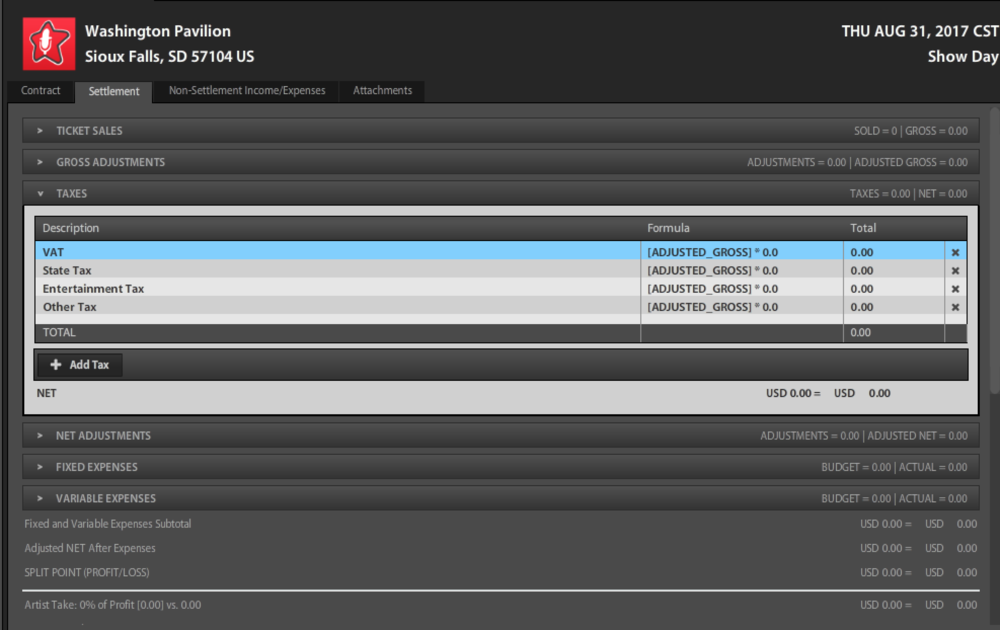 Screenshot of accounting template in Premium version.
