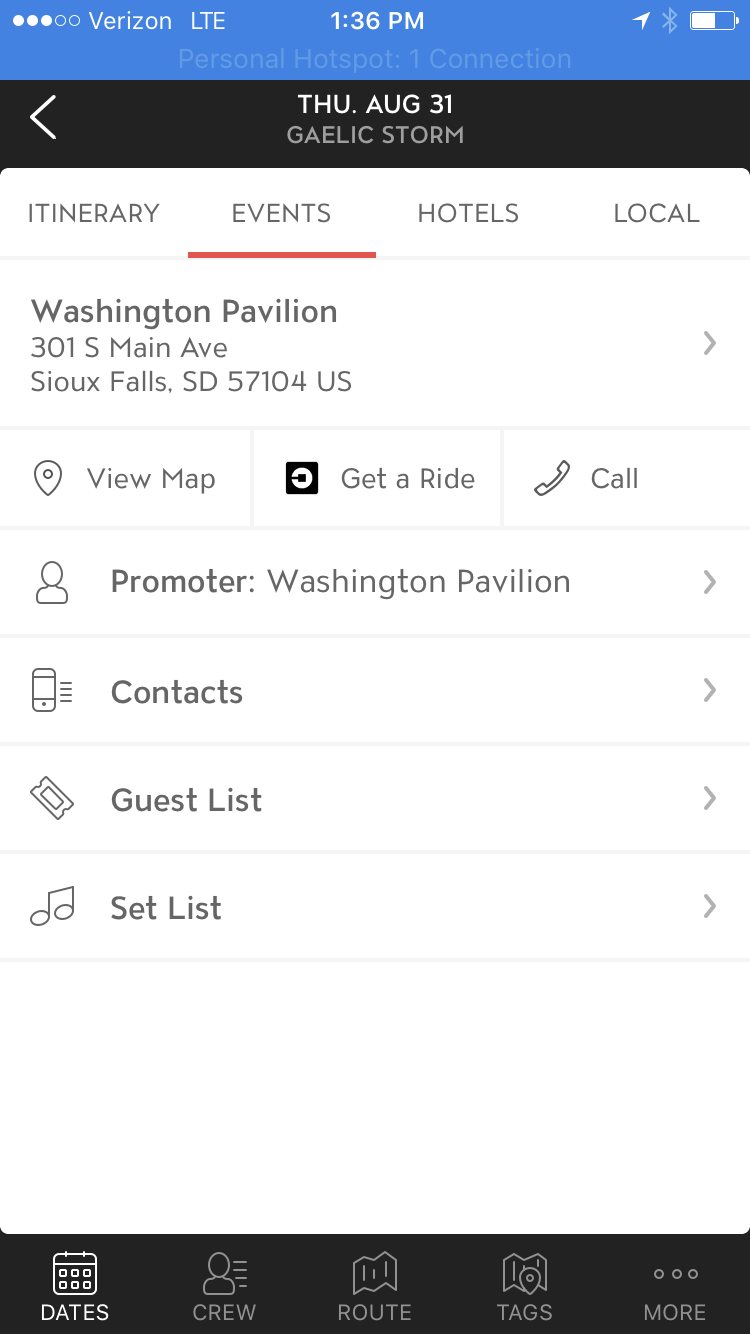 Mobile Screenshot: Master Tour syncs directly with your mapping and ride share apps.