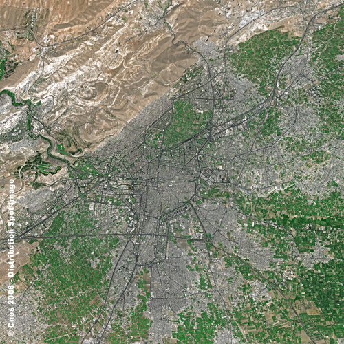 Satellite image of Damascus, Syria by SPOT Satellite Imagery, commercial geographical imagery company. Source: Wikimedia, https://commons.wikimedia.org/wiki/File:Damascus_SPOT_1363.jpg