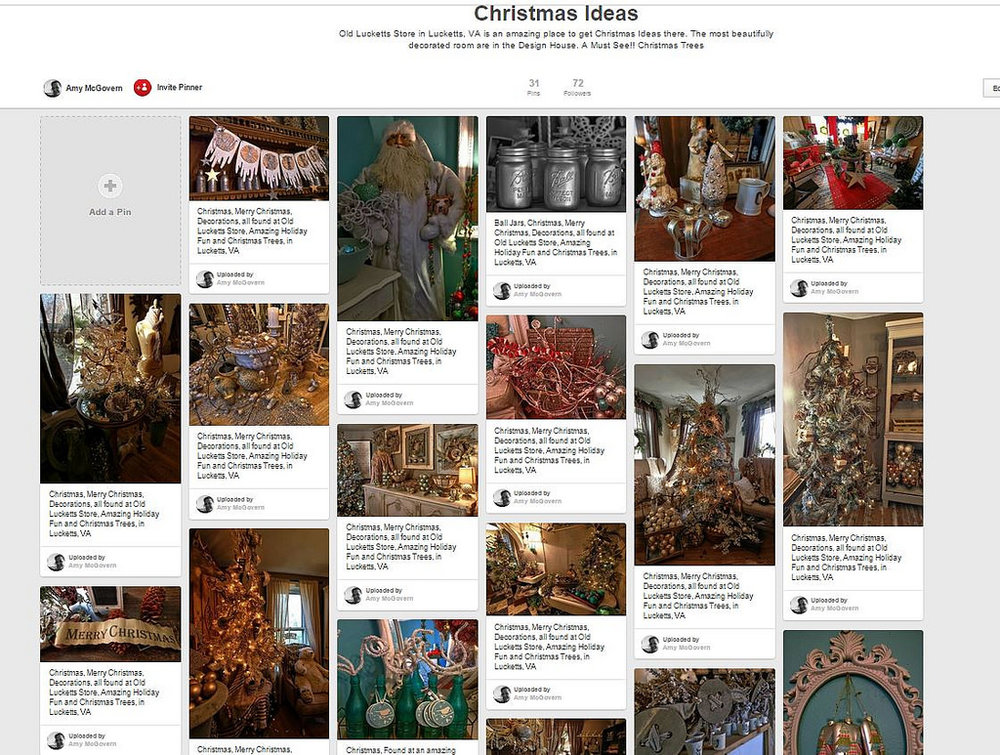 A typical Pinterest board