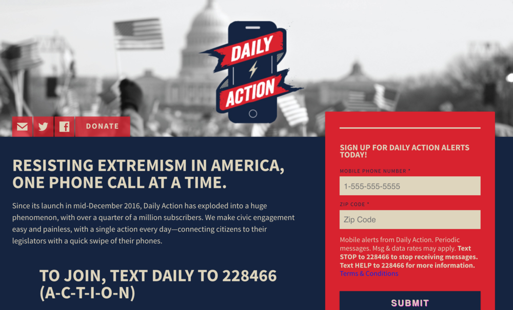 Screenshot of    Daily Action    website.