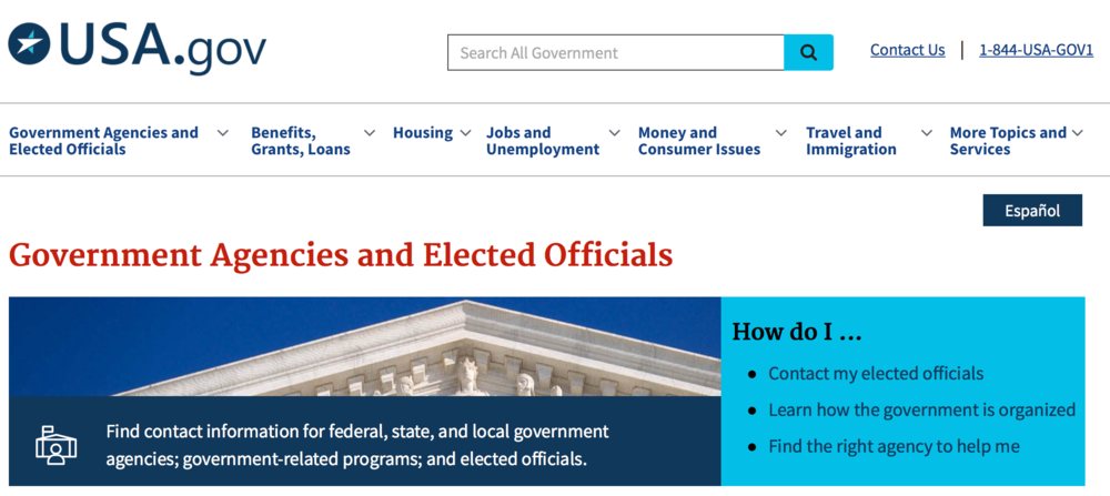 Screenshot of    USA.gov    website.